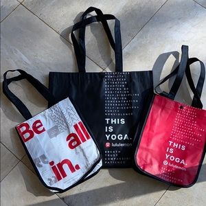 3 Lulu bags- 2 lunch size & 1 large